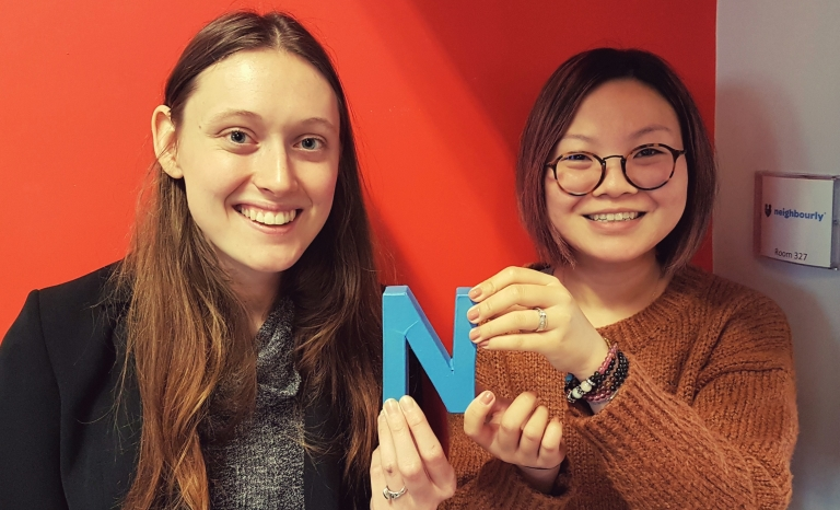 Beth Calverley and Yang Yu are part of the Neighbourly team / Photograph: Neighbourly