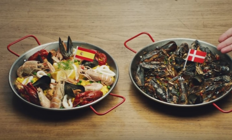 Paella plates from the Spanish version of the video. Image: Youtube