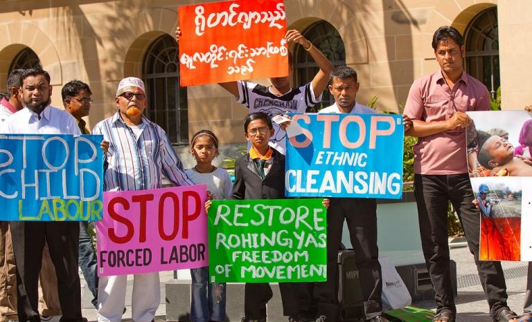 Rohingnya protesters. Photo: Andrew Mercer, Flickr