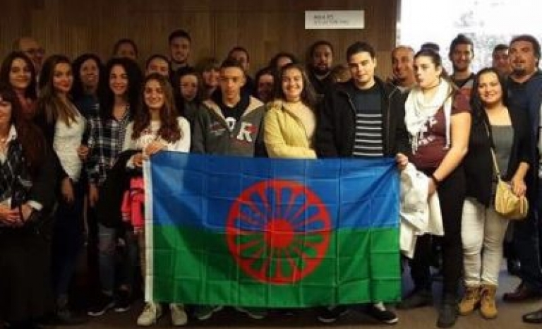 Spanish Romanis with the Romani flag