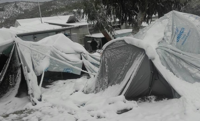 Refugee camp in Greece. Photo: Twitter