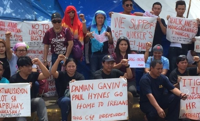 Filipino factory workers protest