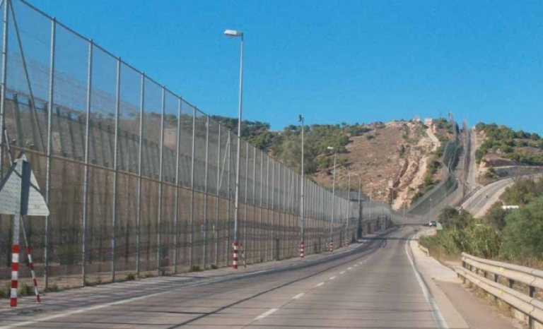 Spanish border in Melilla.