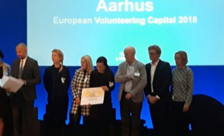 Members of Aarhus'18 during the allocation of European Volunteering Capital 2018.