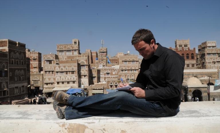 Mikel Ayestaran workin in Sana'a (Yemen) - Image: Mikel Ayestaran